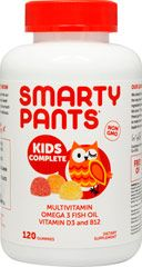 ??for Jake when 3 y/o + -   at Puritans Pride - SmartyPants™ All-in-One Gummy Vitamins with Omega 3's and Vitamin D From the Manufacturer's Label:    All-in-one gummy vitamin with eco-friendly DHA & EPA omega 3's, 100% of the US RDI of vitamin D3 plus a full multivitamin that will have kids asking to take their vitamins. No High Fructose Corn Syrup. Only 120 Gummies  $16.99