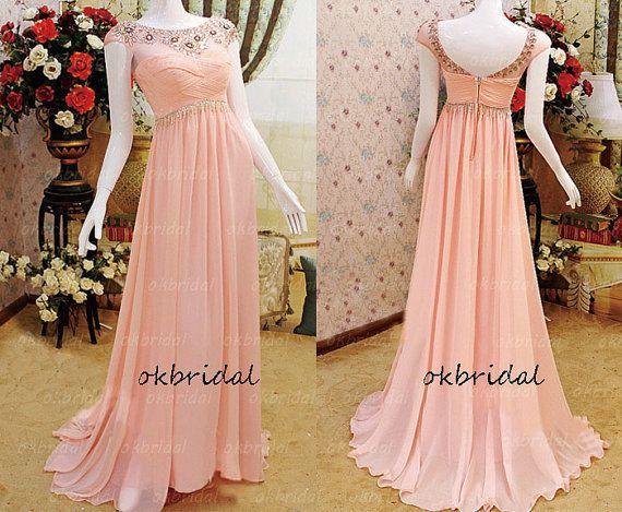 Peach prom dress, blush prom dress, pink prom dress, 2017 prom dress, cheap prom
