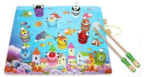 Montessori Kids Toys Baby Wooden Toys 3D Magnetic Fishing Pretend Learning Educational Preschool Training Brinquedos Juguets