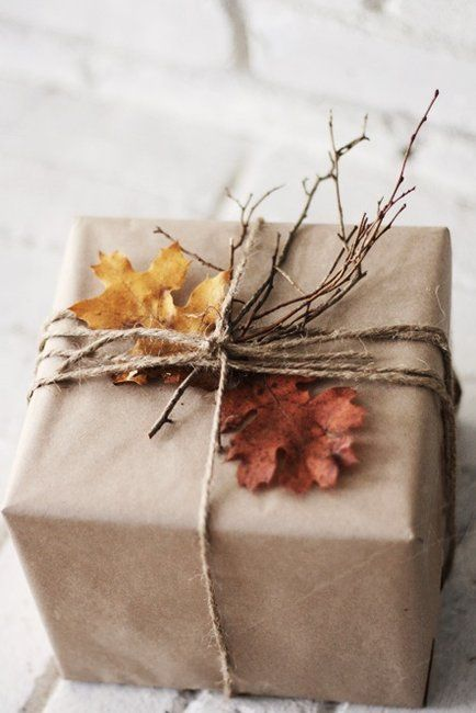Fall Gift Wrap with Leaves, Twigs, Twine, & Brown Paper.