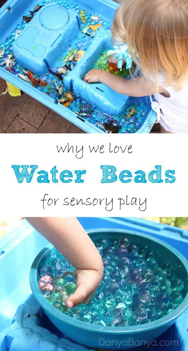 Water beads are so cool for sensory play. They are wet, and yet solid. They are slippery and squishy and feel absolutely amazing to touch. ~ Danya Banya