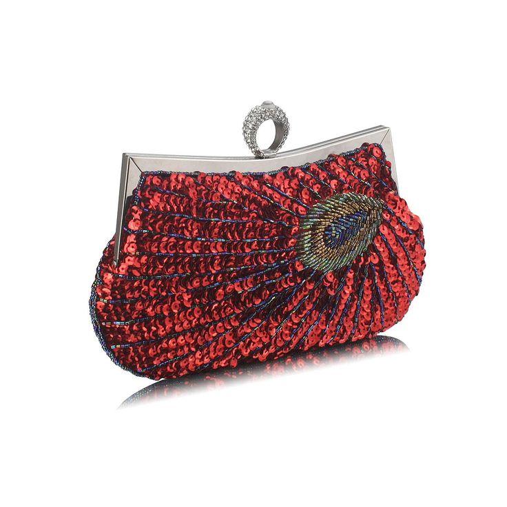 Poșetă de seară clutch cu inel, roșie, cu paiete, mărgele, cu motiv coadă de păun