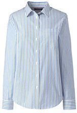 Lands' End Women's Plus Size Oxford Shirt-Vivid Blue/White Stripe
