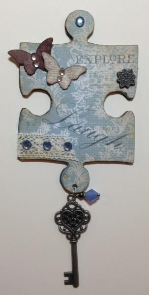 Altered Puzzle Piece by Miss Kitty Divine - Cards and Paper Crafts at Splitcoaststampers