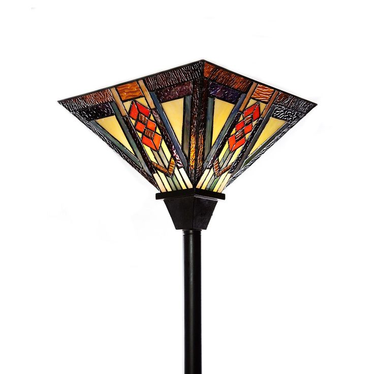 "River of Goods Southwestern Mission Style Stained Glass 70""  H Torchiere Floor Lamp"