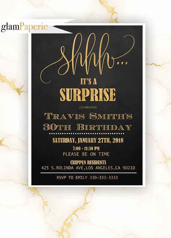 Surprise Gold Birthday Invitation For Mens Surpriseforman Surpriseparty Shhh