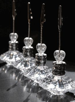Crystal Place Card & Table Number Holders (4 holders) for reserved tables @ reception.