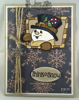 High Hopes Stamps: Think Snow by Jane using  Candy Cane Snowman (RR002) and Think Snow 2 Sentiment (HH006).