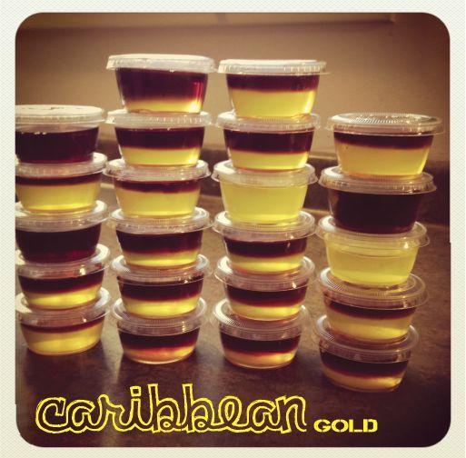 coconut and black cherry rum layered jello shot