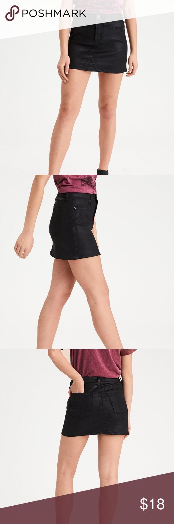 "AEO Coated Denim Faux Leather Mini Skirt Brand new with tags! Size 10. It does have a bit of stretch but the material is pretty thick. It is coated to make it look like leather.  🌸Measurements (laying flat): Waist-17"" Hips-20"" Length-15.5"" American Eagle Outfitters Skirts Mini"