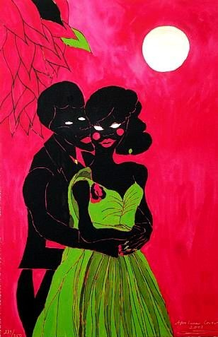 Afro Lunar Lovers, Chris Ofili. colours are eyecatchinh. she used the shade of green and shocking pink.i like the idea of keeping bodies of two people black which made the green dress more prominent.