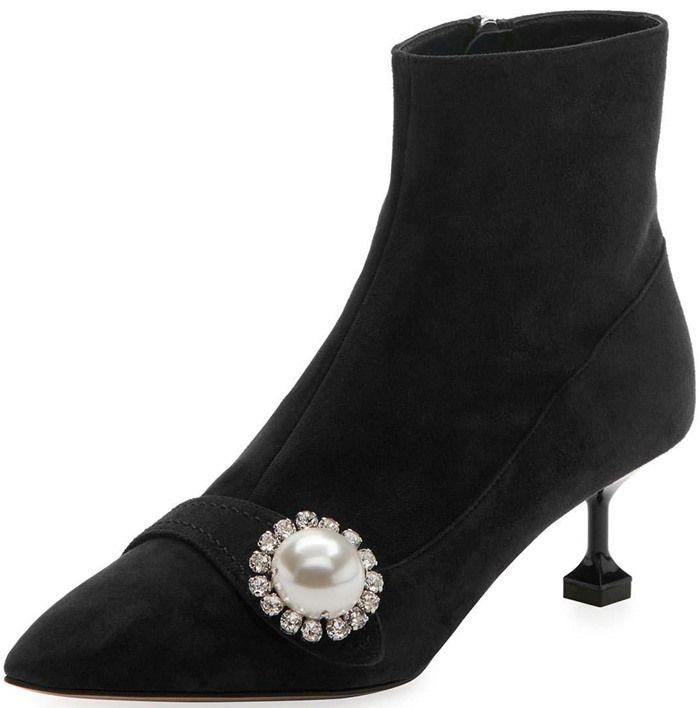 Miu Miu Pearl & Crystal Velvet Boots 3z0Bq
