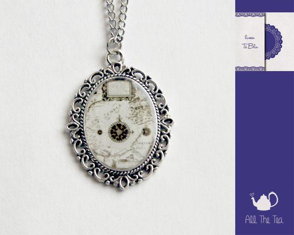 Collana con ciondolo cabochon in vetro handmade di All The Tea su DaWanda.com