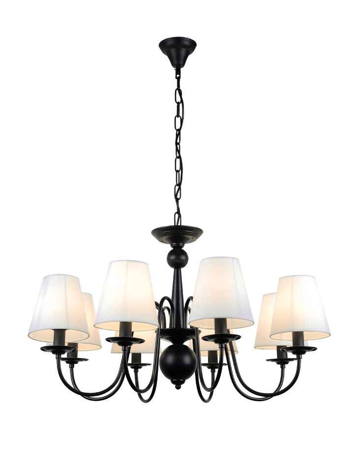 "Lend a touch of grandeur to your home with this 8 Lights Modern Black Iron<a href=""http://www.parrotuncle.com/chandeliers.html"">Chandelier</a>with Fabric Shades. Having multi-lights in different arms is a big character of the chandelier. This chandelier is no exception. It features 8 lights standing in eight black curved iron arms, which is in a circle around a special pole. Fabric shades color is different when the light is on and off."