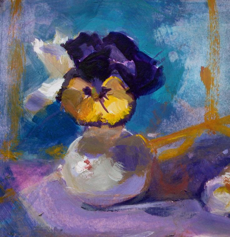 Midnight pansy.  Acrylic on Strathmore Mixed Media paper.