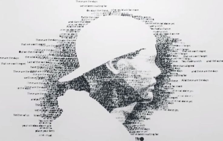the best typography for the DJ Avicii's portrait ever. this image has great portion for viewers, and if you know who Avicii is, you could define this image easily. all the text are the lyrics of Avicii's song, so there is also strong theme to goes around with this image. and it also a very creative work.
