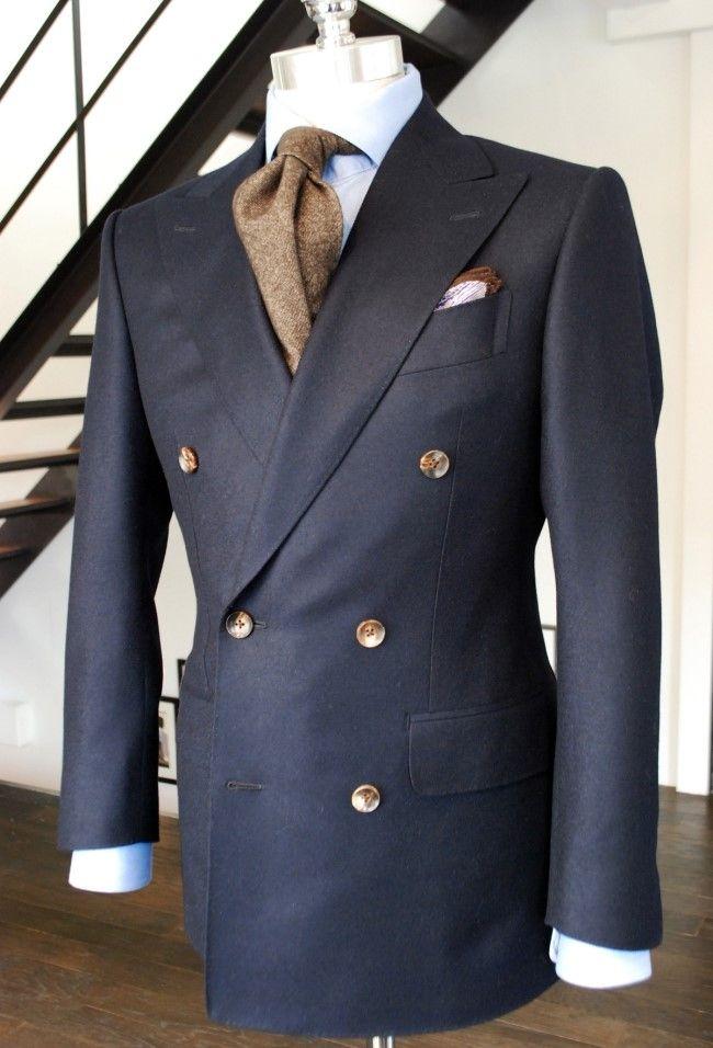 Suit: loropiana plain navy wool + Tie: Berg for Tailorable + Phochette  :Tailorable Source: Tailorable