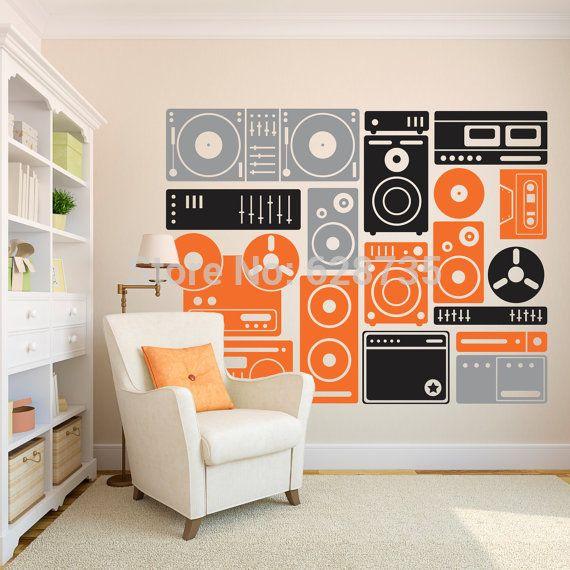 200x155 cm extra grote muziek apparatuur wall art decor stickers, Custom vinyl muursticker muziek, Gratis verzending dj decals stickers A2051(China (Mainland))