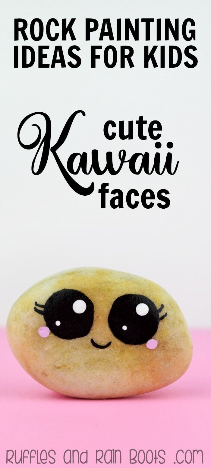 Rock Painting circles with Kawaii faces is the best craft for kids and adults! This tutorial shows how easy it is - and the many ways to - paint circles on rocks. #rockpainting #rockpaintingideas  via @momtoelise