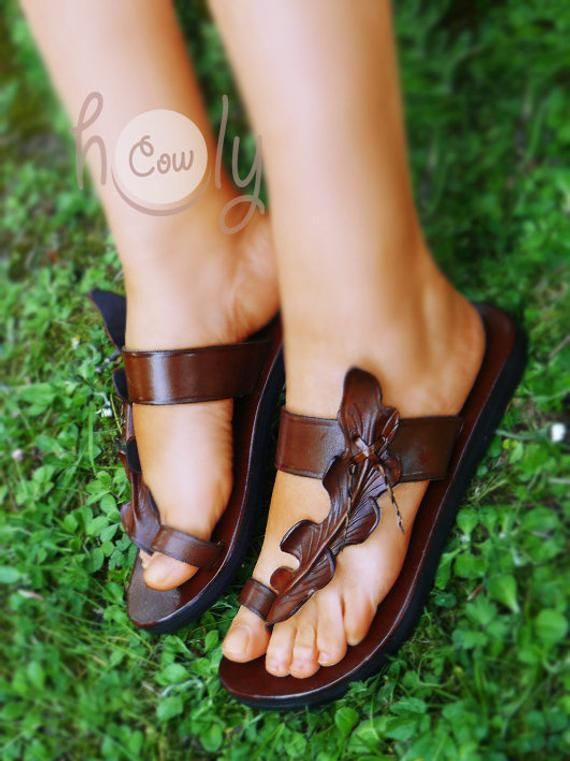 a53b0539c22afc Handmade Brown Leather Leaf Sandals