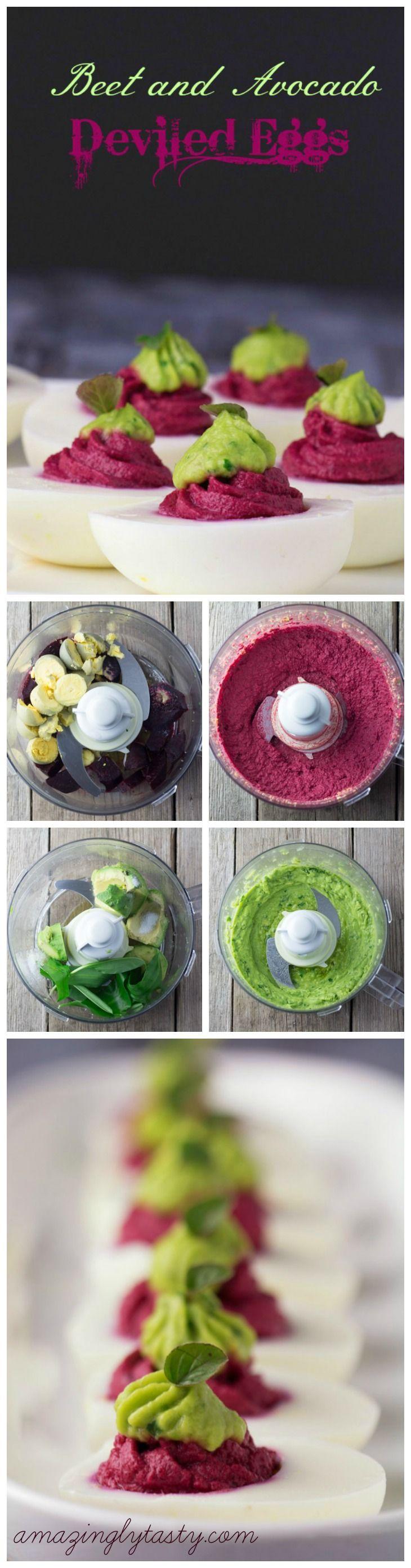 Beet and Avocado Deviled Eggs by amazinglytasty #Eggs #Beet #Avocado #Healthy