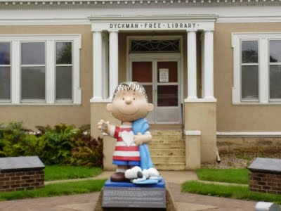 Sleepy Eye, MN. Yes, they really have a stature of Linus outside their library. Never asked why.