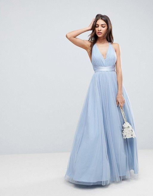 ddafa30455e DESIGN Premium tulle maxi prom dress with ribbon ties in 2019