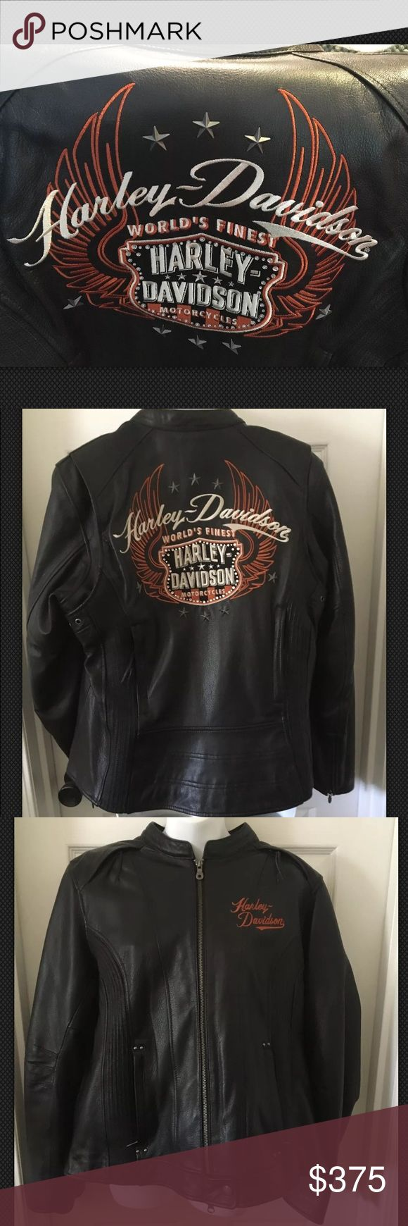 Harley Davidson 3-in-1 Leather Riding Jacket Wings HD 3-in-1 Motorcycle riding jacket NWT. Marked size 1W but FITS SMALL compared to other 1W HD leather jackets. PLEASE see measurements in comments. Wear it three ways: *Leather jacket only *Nylon hoodie only (with thumb holes) *Or the two pieces can be worn together Perfect but for one tiny hole in the lining of the leather jacket where a price tag or possibly the inner jacket was attached. MORE PHOTOS IN ANOTHER LISTING! These photos show…