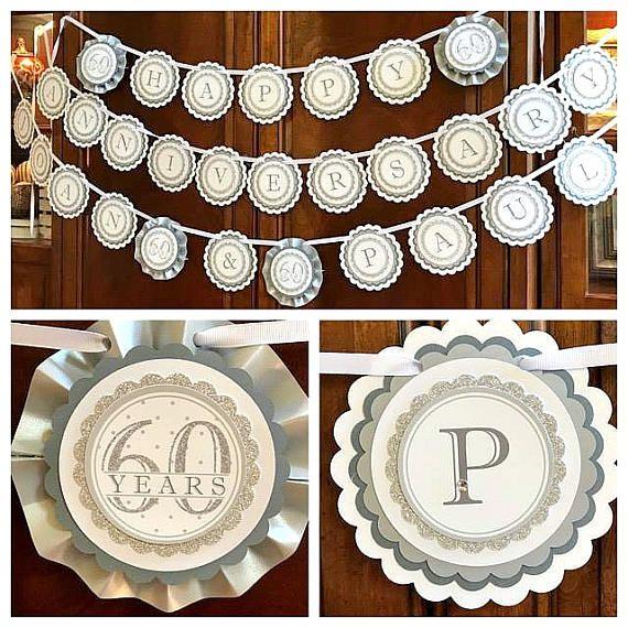 DECORACIONES del Jubileo de diamante 60 º aniversario de boda
