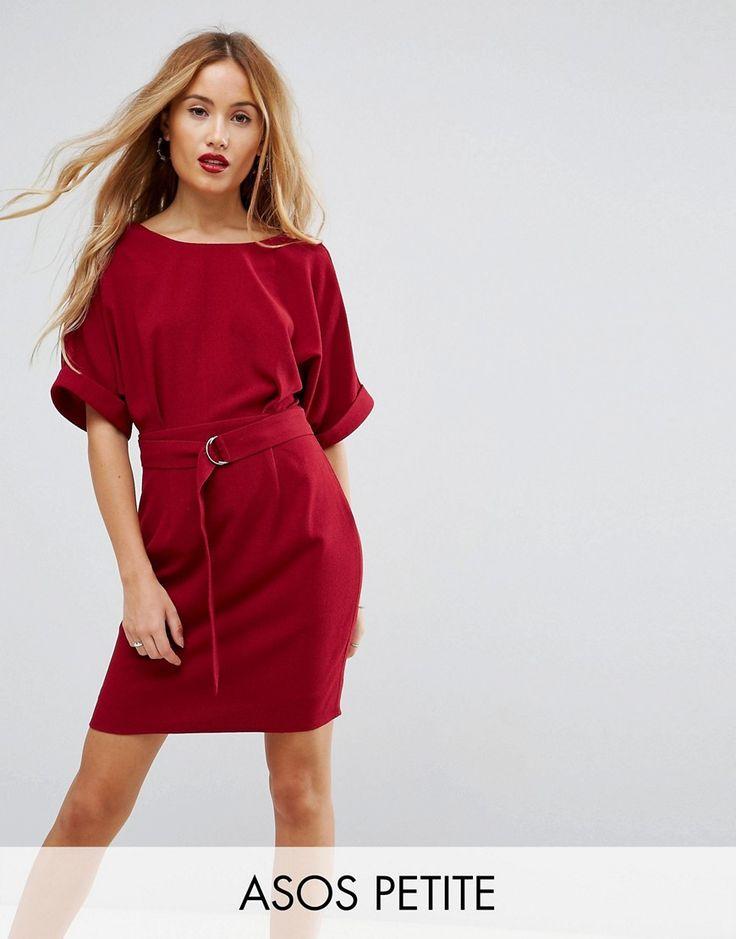 ASOS PETITE Mini Smart Woven Dress with D-Ring Belt - Pink