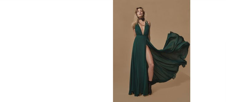Bridesmaid dresses for your real friends. This is a floor length, relaxed fitting, lined dress with a deep-v neckline.