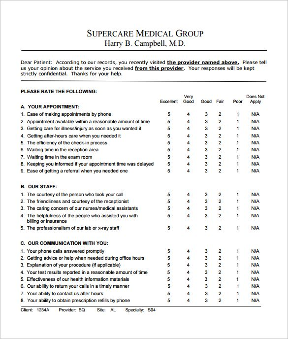 Patient Satisfaction Survey Questions Survey Template Survey