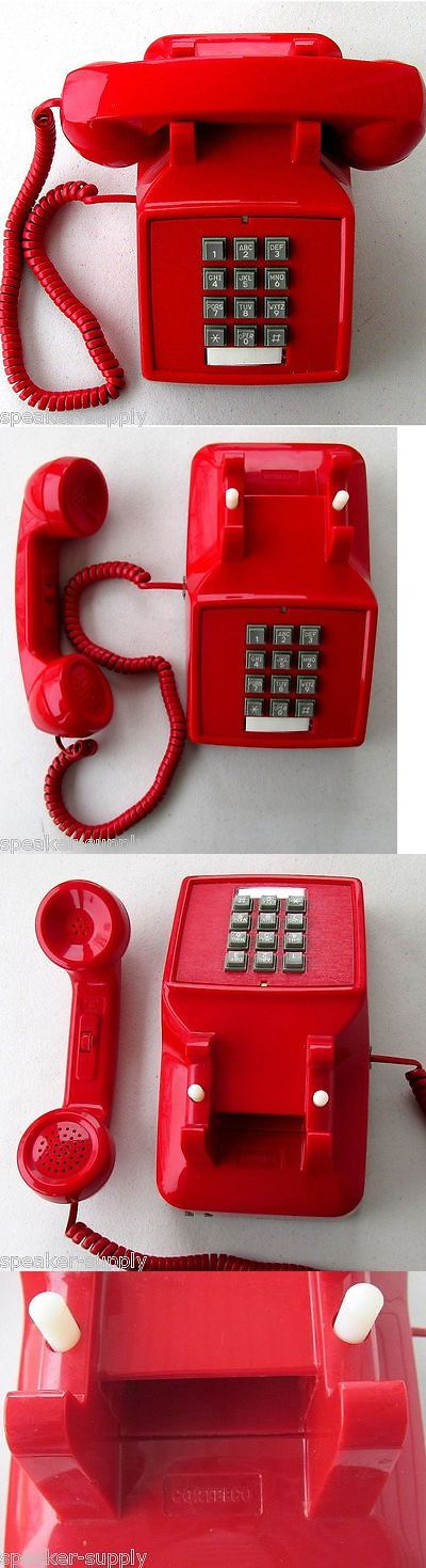 Corded Telephones: Retro Push Button Red Desk Telephone Vintage Style Corded Phone 250047-Vba-20M -> BUY IT NOW ONLY: $47.43 on eBay!
