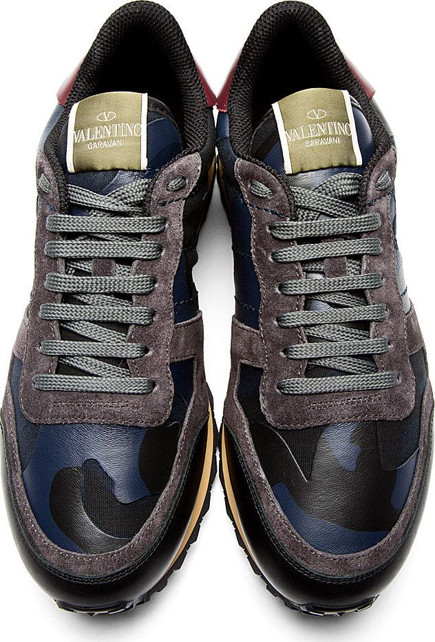 Valentino: Navy & Black Camo Sneakers