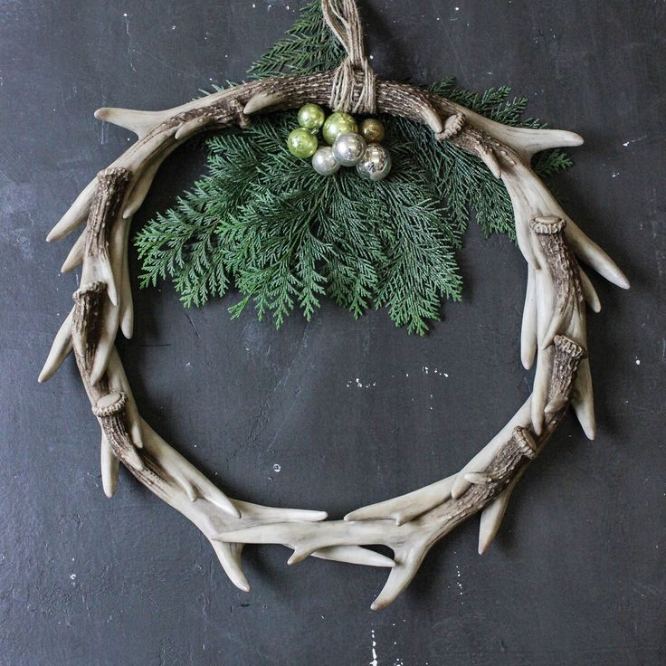 17 best images about antlers on pinterest faux taxidermy for Antler christmas wreath
