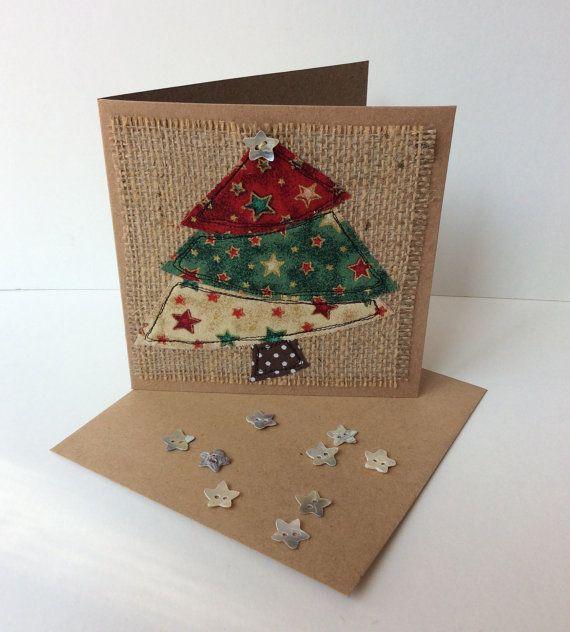 Hand made Christmas cards. Made using raw edge applique and machine embroidery. 4 designs available Christmas tree Christmas pudding Christmas stocking Christmas presents
