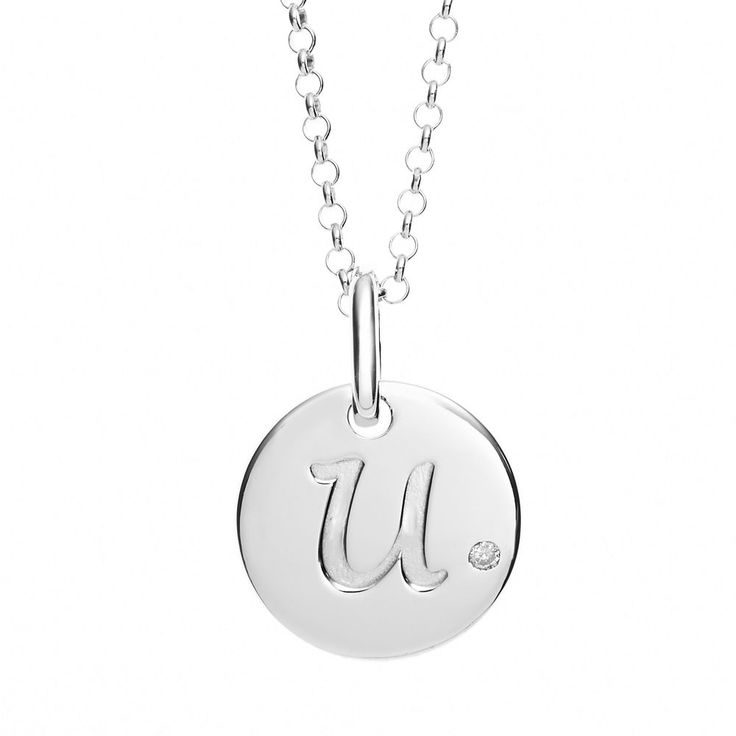 "Little Diva Diamonds Diamond Accent Sterling Silver Initial Pendant Necklace - Kids, Women's, Size: 14"", Grey"