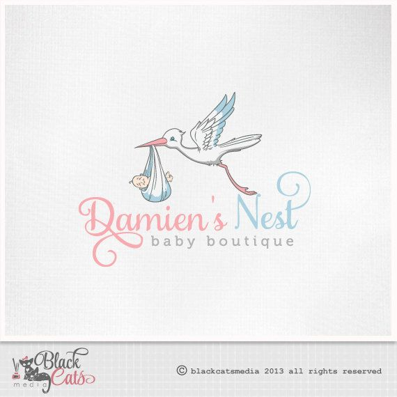 Baby Logo stork with baby Eps file included by BlackCatsMedia, $17.00