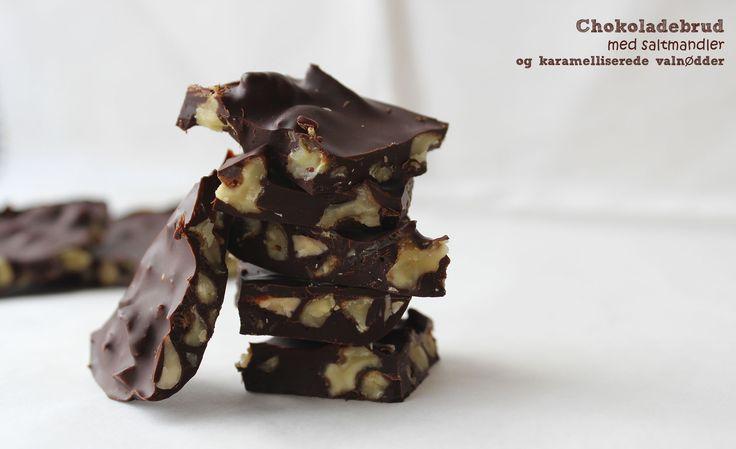 Chokoladebrud med saltmandler og karamelliserede valnødder