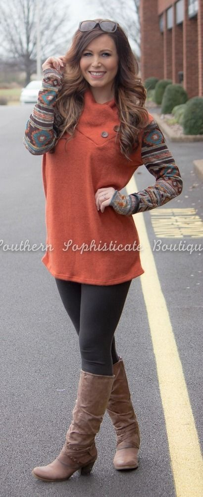 Rust Aztec Sleeve Sweater Tunic / Southern Sophisticate Boutique
