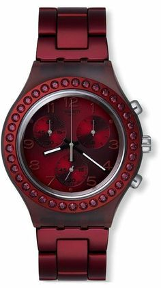 Swatch Women's Irony Red Stainless-Steel Swiss Quartz Watch with Red Dial