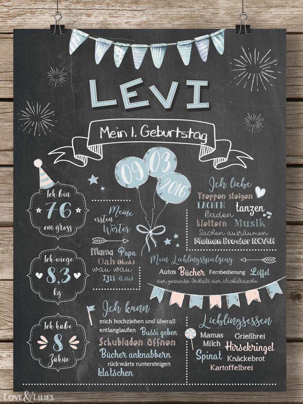 LoveAndLilies.de | Baby Chalkboard zum 1. Geburtstag für Jungen in hellblau/peach – Geburtstagstafel / Plakat für den Kindergeburtstag im Retro Design