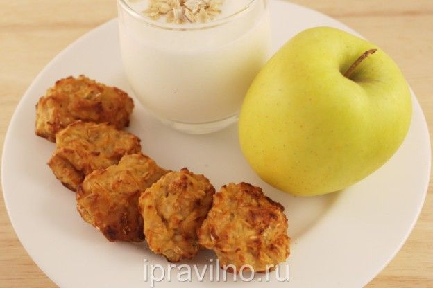творожное печенье с овсянкой, яблоком и бананом