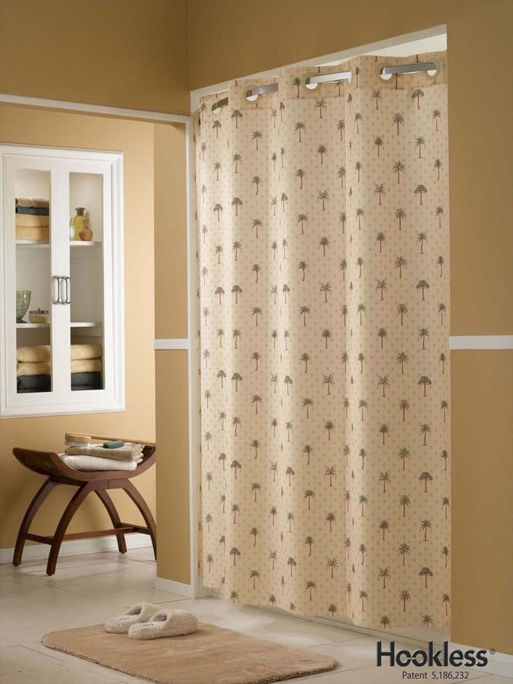 Tropical palm tree hookless shower curtain palm tree for Palm tree bathroom ideas