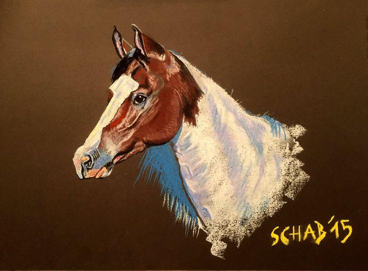 Horse head- A3 paper, soft pastels