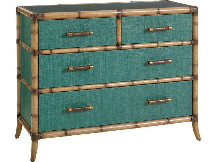 Tommy Bahama Home Twin Palms_Teal Raffia Accent Chest with Protective Glass Top - Baer's Furniture - Accent Chests