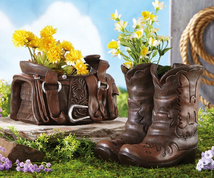horse decoration outside | Western Theme Outdoor Garden Decor Cowboy Boots / Horse Saddle Planter ...