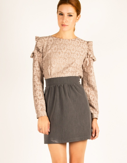 Long sleeve compose dress with lace, ribbon that ties on the back, zipper closure and ruffles on the sleeve.