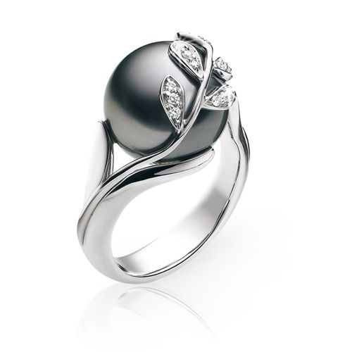 Dream Pearl ring (blue/black pearl with rose gold)