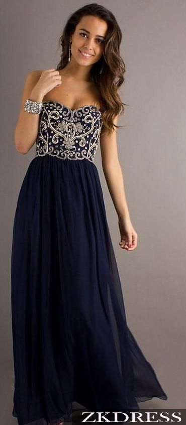 Something about navy dresses I love!Navy Blue Prom Dresses Long Sweetheart Beaded Bodice Sparkly Elegant Prom Gowns